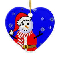 Snowman in a Santa Suit n Scarf Heart Ornament