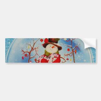 Snowman in a Snow Globe Bumper Sticker