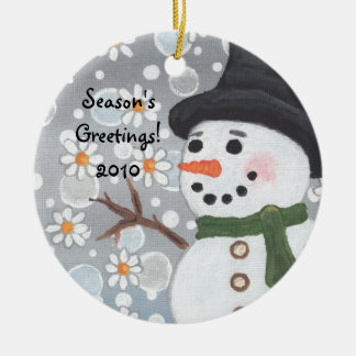 Snowman in a Snowstorm, Season's Greetings!  2010 Ceramic Ornament