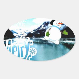 Snowman in Alaska Oval Sticker