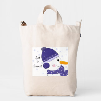 Snowman in Blue Hat and Scarf Duck Bag