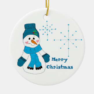 Snowman in Blue Double-Sided Ceramic Round Christmas Ornament
