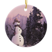 Snowman in Christmas Tree Forest Ceramic Ornament
