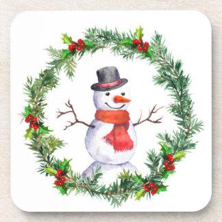 Snowman In Christmas Wreath Beverage Coaster