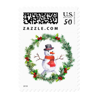 Snowman In Christmas Wreath Postage