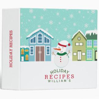 Snowman In Cute Village Christmas Recipes Binder
