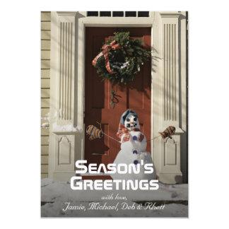 Snowman in front of door card