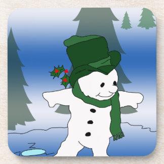 Snowman in Green Beverage Coaster