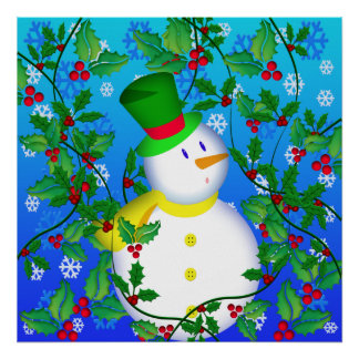 Snowman In Holly Poster