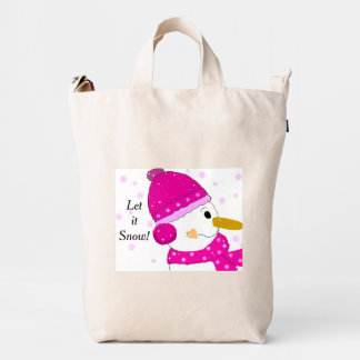 Snowman in Pink Hat and Scarf Duck Bag