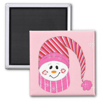 Snowman In Pink Magnet