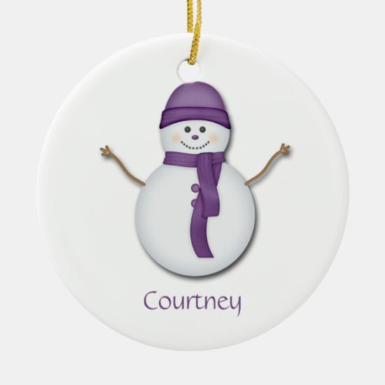 Snowman in Purple Scarf and Hat Christmas Ornament