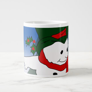 Snowman in Red and Green Hat Giant Coffee Mug