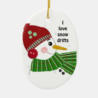 Snowman in Red Hat and Green Scarf Double-Sided Oval Ceramic Christmas Ornament