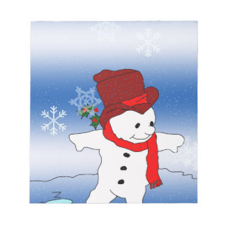 Snowman in Red Hat Notepad