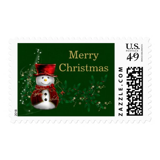 Snowman in Red Hat Postage Stamps