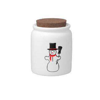 Snowman in Scarf and Top Hat Holding Broom Candy Dishes