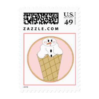 Snowman in Snow Cone Postage Stamps