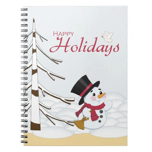 Snowman in the snow Christmas holiday notebook