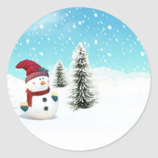 Snowman in the Snow Round Stickers