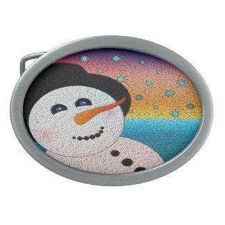 Snowman In Tophat Belt Buckle