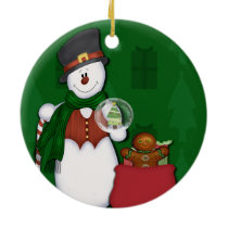 Snowman in Tophat Ceramic Ornament