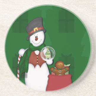 Snowman in Tophat Drink Coaster