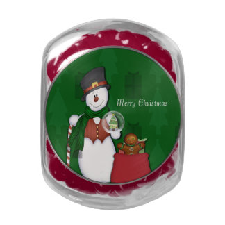 Snowman in Tophat Glass Candy Jar