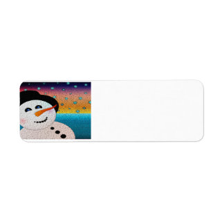 Snowman In Tophat Label