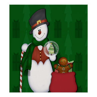 Snowman in Tophat Poster