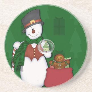 Snowman in Tophat Sandstone Coaster