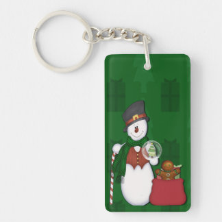 Snowman in Tophat Single-Sided Rectangular Acrylic Keychain