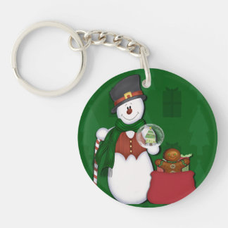 Snowman in Tophat Single-Sided Round Acrylic Keychain