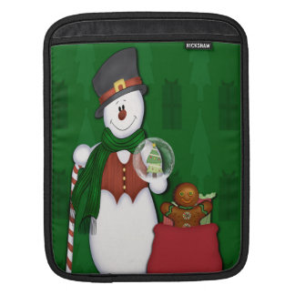 Snowman in Tophat Sleeve For iPads