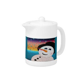 Snowman In Tophat Teapot