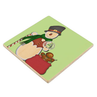 Snowman in Tophat Wood Coaster