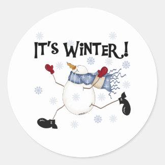 Snowman It's Winter Classic Round Sticker