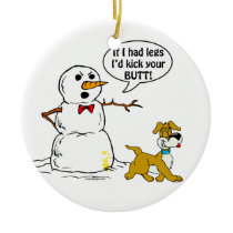 Snowman Joke Ceramic Ornament