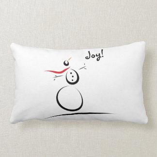 SNOWMAN JOY B/W Custom Text Template Lumbar Pillow
