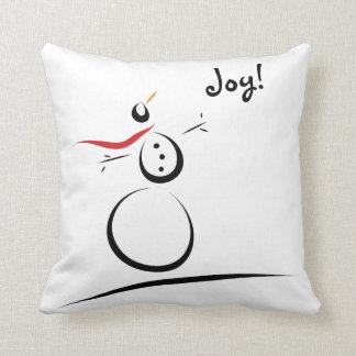 SNOWMAN JOY B/W Custom Text Template Throw Pillow