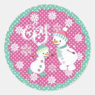 Snowman Joy Christmas Holiday Round Sticker
