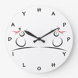 SNOWMAN JOY 'Happy Holiday' Letters for Numbers Large Clock