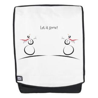 SNOWMAN JOY 'Let It Snow' Custom Message Backpack