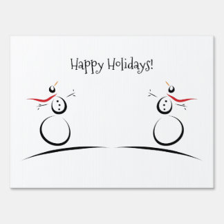 SNOWMAN JOY 'Let It Snow Happy Holidays' White Sign