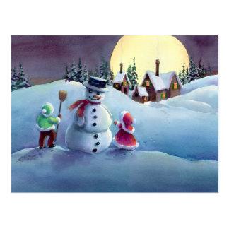 SNOWMAN & KIDS by SHARON SHARPE Postcard