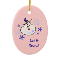 Snowman Kids Holiday Ceramic Ornament