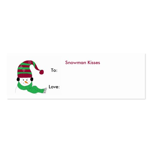 Snowman Kisses - Gift Tag Business Card