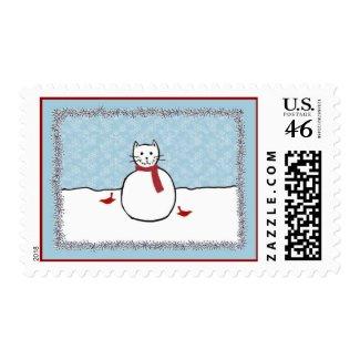 Snowman Kitty Postage Stamp stamp