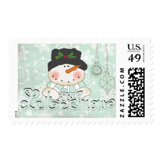 Snowman Let it Snow Christmas Postage