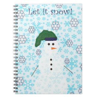 Snowman let it snow design notebook